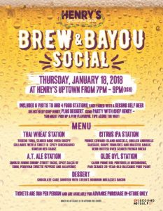Henry's Brew & Bayou Social with Second Self Beer Company @ Henry's Louisiana Grill & Uptown